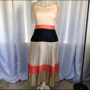 Banana Republic Pleated Colorblock Midi Dress